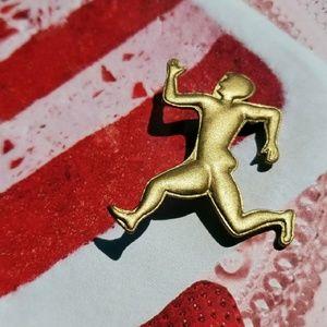 Jewelry - Vintage Golden Running Man Pin